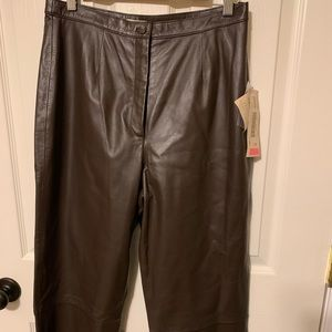 Ladies real genuine leather pants. Chocolate brown
